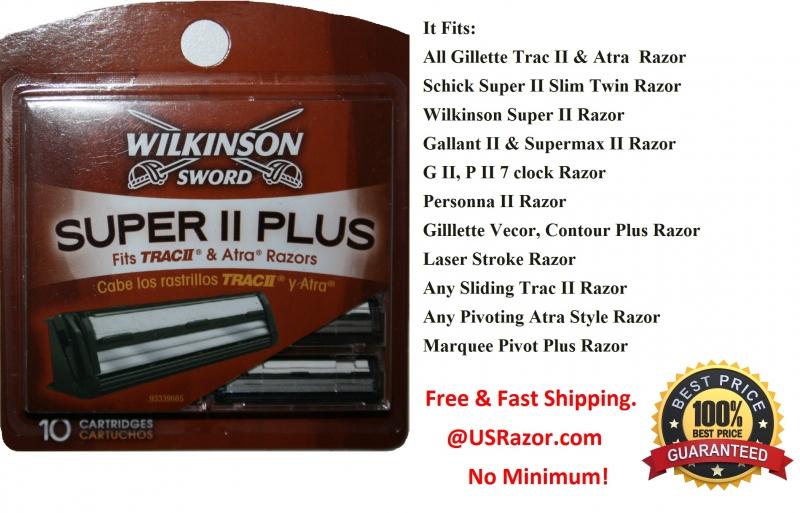 10 Wilkinson Super Ii Razor Blade Fit Gillette Trac Atra