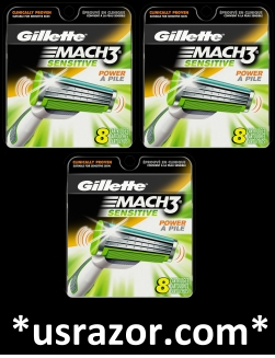 24 Gillette Sensitive Mach3 Power Razor blades Cartridges Refills Shaver M3 USA