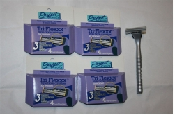 16 Tri-Flex 3 blade cartridge fits Gillette Sensor Razor + 1 Shaver Handle Women