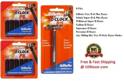 11 Gillette Trac II Razor Blades + 1 Razor 7 clock P II