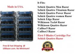 8 Refill Fit Schick Quattro Wilkinson Titanium Trimmer Razor 5 Blades Cartridge Made in USA