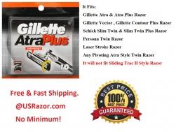10 Gillette Atra plus Razor Blades Cartridges Replacement Shaver Refills