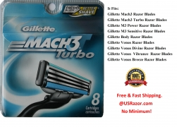 8 Gillette Mach3 Turbo Razor b..