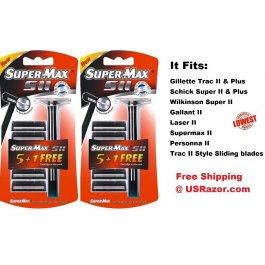 2 Supermax Fits Gillette Trac II Plus Razor Blades Handle