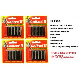 20 Gallant Blades Fits Gillette Trac II Plus Razor Twin Cartridge