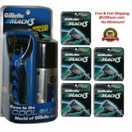 52 Gillette Mach3 Razor Blades Cartridges Refills Fits Turbo M3 Power Shaver USA