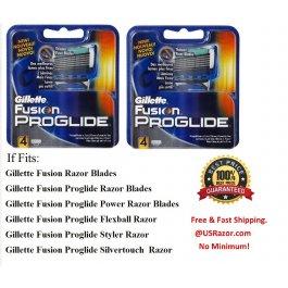 8 2x4 GILLETTE FUSION Proglide Razor Blades Cartridges Refills