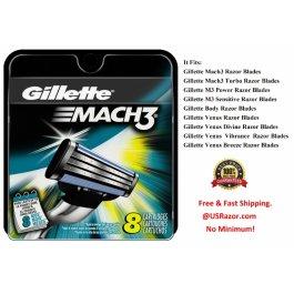 8 Mach3 Cartridge 3 Blades Razor Refills Gillette Shaver