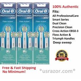 9 Braun Oral B Floss Action Brush Heads Toothbrush EB25-3