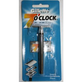 Gillette 7 O Clock Double Edge Safety Razor Metal Handle Platinum Blade Classic