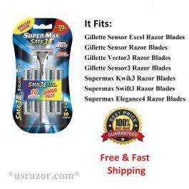 11 Supermax SMX 3 Razor BLADES Refill fit Gillette Sensor3 Excel Kwik Cartridges