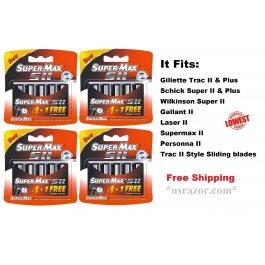 20 Supermax II Blades fit Gillette Schick Trac Plus Razor Twin Cartridges Refill