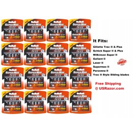 80 Supermax Blades Fit Gillette Schick Trac II Plus Razor Cartridges