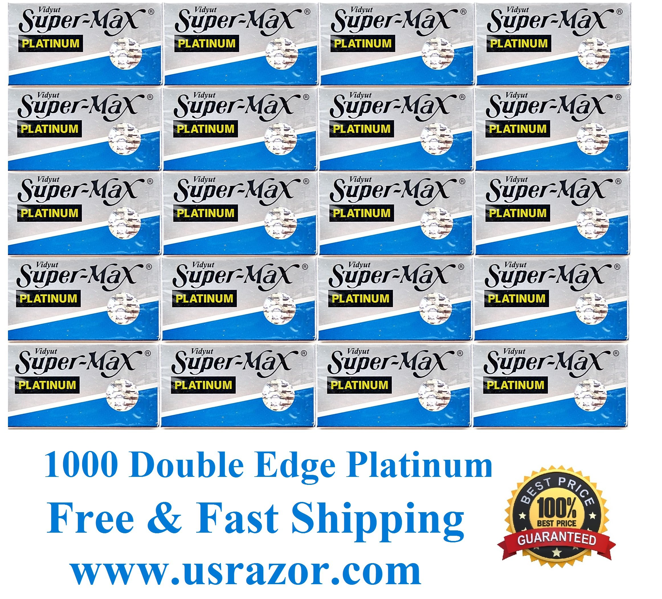 1000 SuperMax Double Edge Platinum Blades Barber Fits Gillette Schick Razor UK
