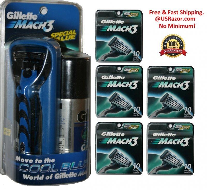 52 Gillette Mach3 Razor Blades Cartridges Refills Fits