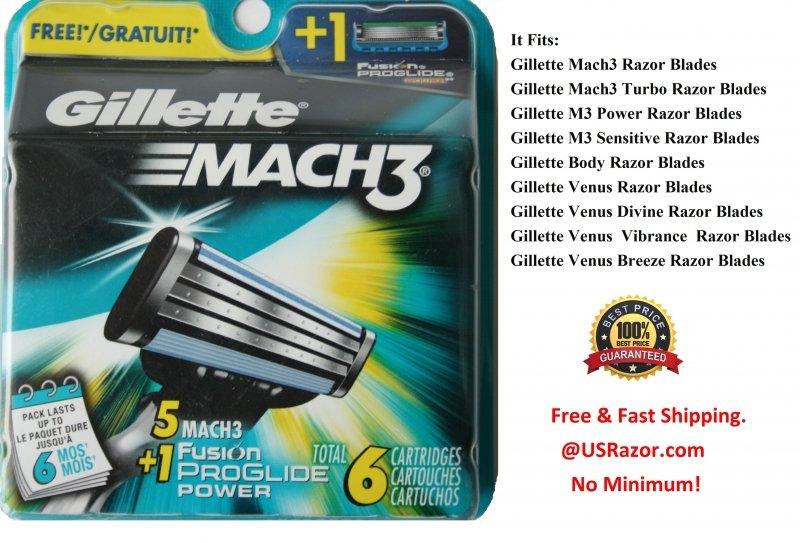 6 Gillette Mach3 Razor Blades Cartridges Shaver Refill