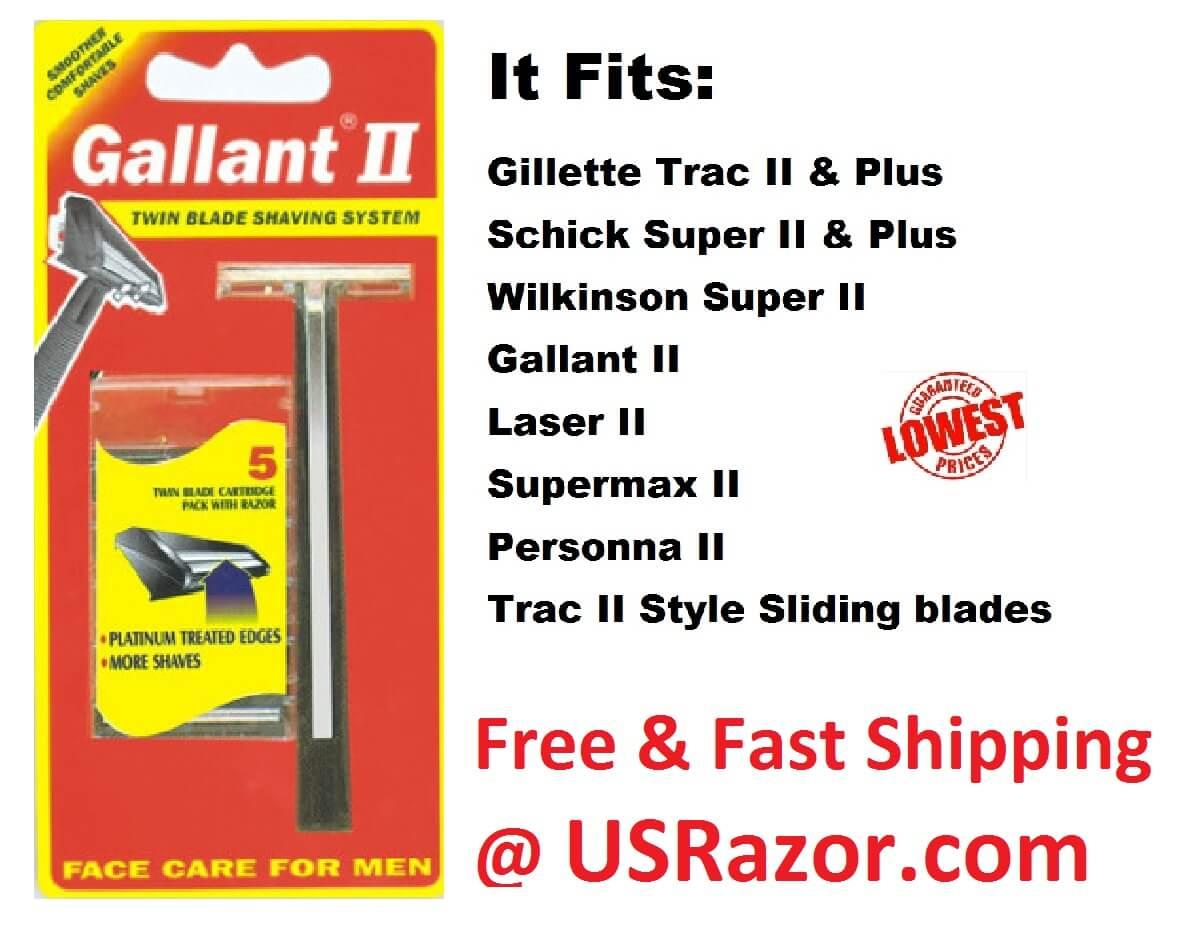 Gallant Razor Non Lubricant Blades Fit Gillette Trac II Plus
