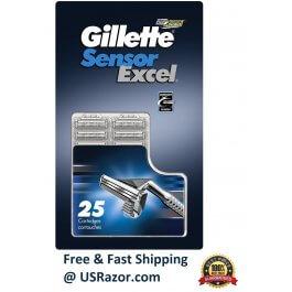 25 Gillette Sensor Excel Razor Blades Refill Cartridges fits Sensor 3 Made in USA