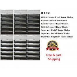 30 Cartridges Fit Gillette Sensor 3 Excel Razor Shaver blade Refills Made in USA