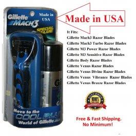 Gillette Mach3 Metal RAZOR Handle Shaving Gel 3 Blades
