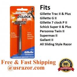 Gillette Trac II Razor 7 Clock P ll Metal Shaver Handle Fits Schick Super II Blade