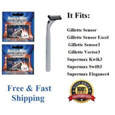11 Supermax Kwik3 1 Razor 5 Blades Fits Gillette Sensor Excel Razor