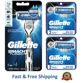 5 Gillette Mach 3 Turbo Razor Blades 4+1 Refills Metal Shaver Handle