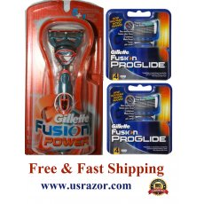 9 Gillette Fusion 5 Performance Power Razor & Proglide Blades Refill Cartridges