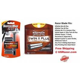 15 Trac II Blades Wilkinson Super Plus Cartridge Refill Ft Gillette Schick Razor