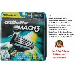 6 Gillette Mach3 Razor Blades Cartridges Shaver Refill Fits Turbo
